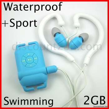 Free Shipping New Swimmer ipx8 Sport Waterproof MP3 Player 2GB Swimming/Running/Surfing (Blue color)