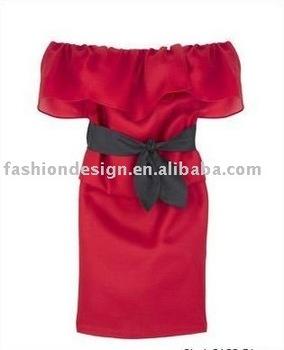HLJ00125 Designer red taffeta off shoulder sash black tie knee-length Cocktail dress