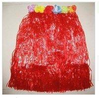 Hawaiian grass skirt L40cm RED /Hawaiian wreath/Hand props cheer flowers