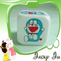 50pcs/Lot New Doraemon Glowing LED 7 Color Change PVC Digital Alarm MoodiCare Clock