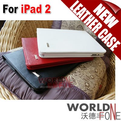 Leather Case with Stand For iPad 2 Protector Case - Black/Red/White 10pcs/lot (WF-IP2LC03)(China (Mainland))