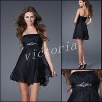 100% Guaranteed Gorgeous PD048 Sleeveless Black Chiffon Homecoming Dresses