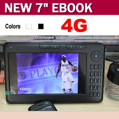 Hot Sale 7 inch TFT Screen 4GB Ebook Reader Digital Player Ebook With MP3/MP4 Function(China (Mainland))