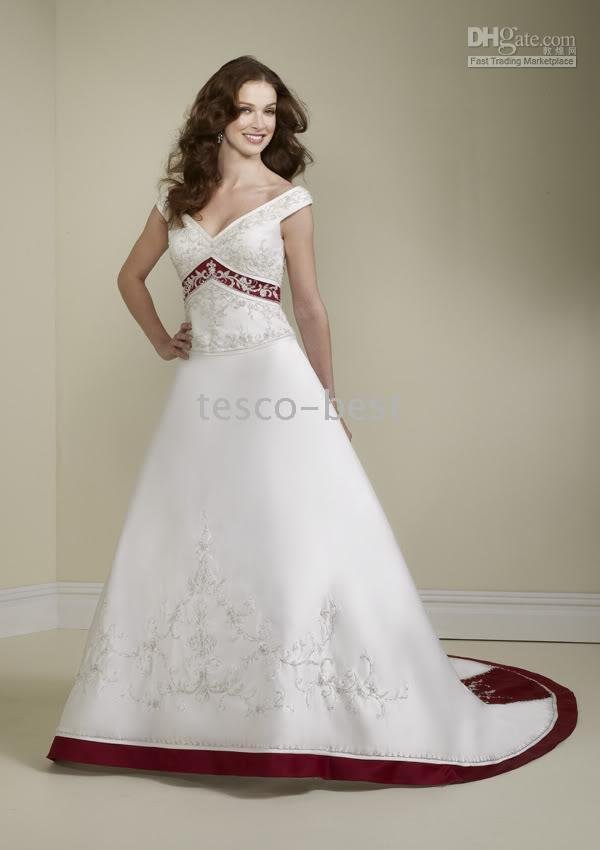 red ribbon Empire waist bride Off the Shoulder Wedding Dresses Custom Made Excellent White with(China (Mainland))