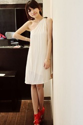 provide korea edition dress new dress, Athena long one-shoulder dress with free shipping(China (Mainland))