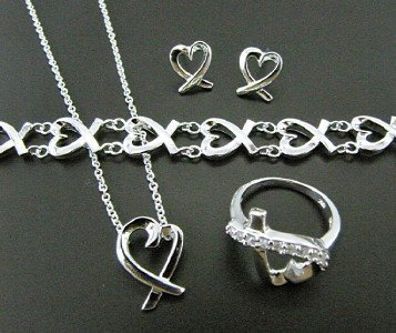 925 silver heart necklace&bracelet&earring&ring X09,new fashion jewellery&gift box(China (Mainland))