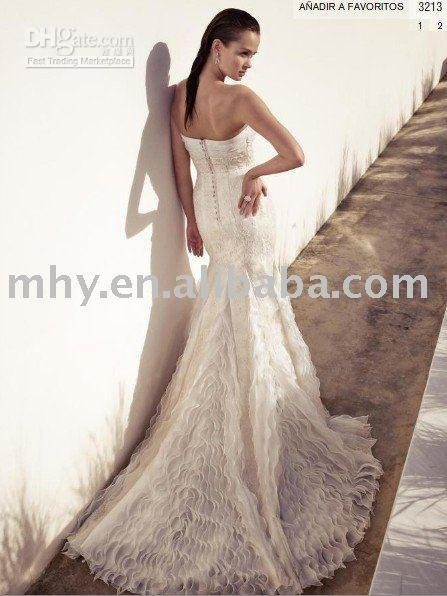 WB1009 latest style A-Line Floor-Length Embroidered Satin wedding dress(China (Mainland))