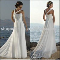 Discount ! Free Shipping!!  CWDS078 One-Shoulder With Flower Classical Beach Wedding Dresses