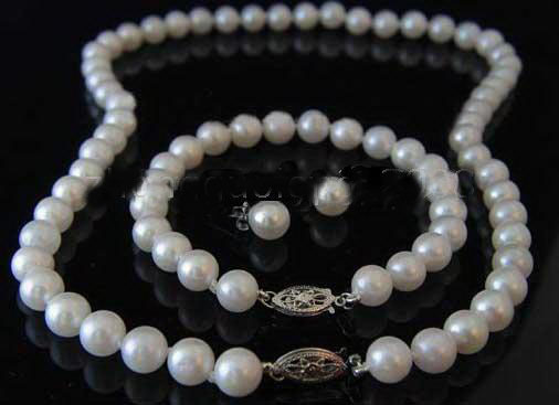 +Earring Jewelry Sets Luxury New 925 Sterling Silver pearl necklace +Bracelets(China (Mainland))
