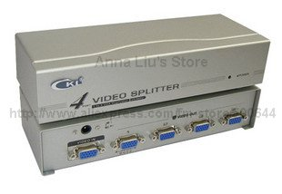 4 Port 250MHZ VGA Video Splitter & 10PCS/Lot DHL/UPS/EMS Free Shipping(China (Mainland))