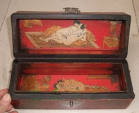 Rare Qing Dynasty red wood Erotic figure carving eroticsex box 1842 Free shipping