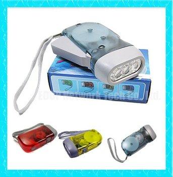 30PCSNew 3 LED Hand press Dynamo Crank No Battery Flashlight Torch Lamp