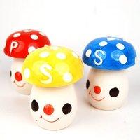 Hot sell!!!   Free shipping 50 pairs/lot newest mushroom shape ceramic pepper set/ ceramic salt and pepper pot set/ cruet set