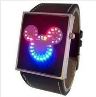 1pcs LED shockproof and antimagnetic mickey mouse digital watch LED watch men's free shipping