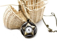 Restores ancient ways can rotate 360 degrees pentagram pocket watch long necklace