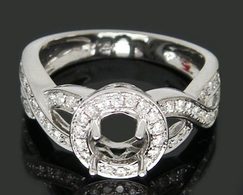 jewellery Round 5.5mm Solid 14kt White Gold 0.46Ct   Diamond Engagement Semi Mount Setting Ring,Amazing,Fancy