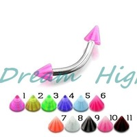 Free Shipping Cone Eyebrow Ring UV Acrylic Ball Eyebrow Piercing Fancy Body Jewelry 100% Guaranteed Promotional Product