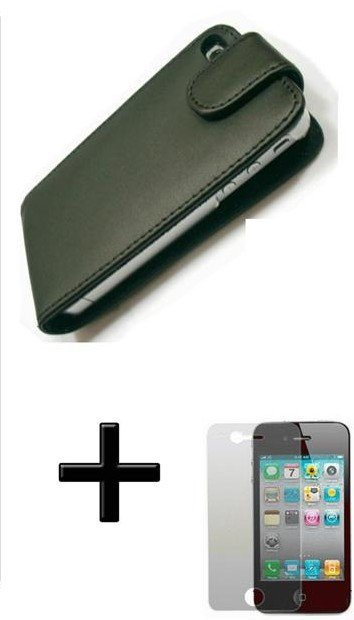 FREE SHIPPING BLACK LEATHER FLIP CASE POUCH COVER FOR IPHONE 4 4G FREE SCREEN PROTECTOR(China (Mainland))