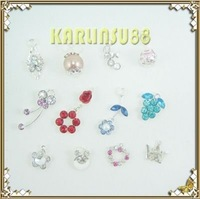 FREE SHIPPING 12 Nail Art Decoration Dangles Charms w/ Rhinestones K326