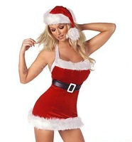 free shipping 2sets/lot Christmas Girl' Costume Sext Fashion Santa Women Costume Dress