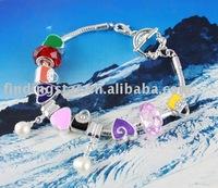 FREE SHIPPING 3PCS European Style Bead Charm Handbag Toggle Bracelet #20106