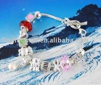 FREE SHIPPING 3PCS European Style Bead Charm Ribbon Toggle Bracelet #20113
