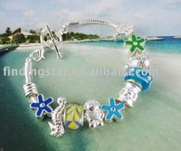 FREE SHIPPING 3PCS European Style Bead Charm Sailor Toggle Bracelet #20015