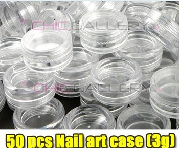 Free Shipping 50 pcs/lot NAIL ART GLITTER DUST POWDER EMPTY CASE BOX 3gram/jar
