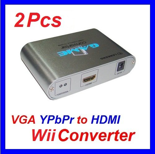 2Pcs/lot Express Component Video YPbPr to HDMI Converter Box Pass through for Nintendo Wii Console(China (Mainland))