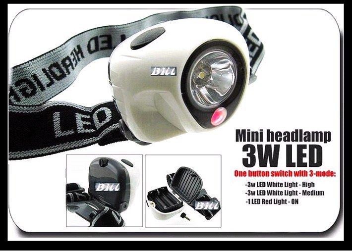 Big Sale + 3 Watt 1 LED White Flashlight Fishing Head Torch 3-mode HeadLight Mini Headlamp + Free Shipping + 30 Days Exchange(China (Mainland))