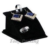 Free Shipping 4 Pendant Necklace Earring Ring Display Stand Holder Velvet Black CF-299