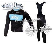 Free Shipping!! WINTER THERMAL FLEECE JERSEY+BIB PANTS 2010 SKY-BLACK&BLUE--SIZE:S-4XL