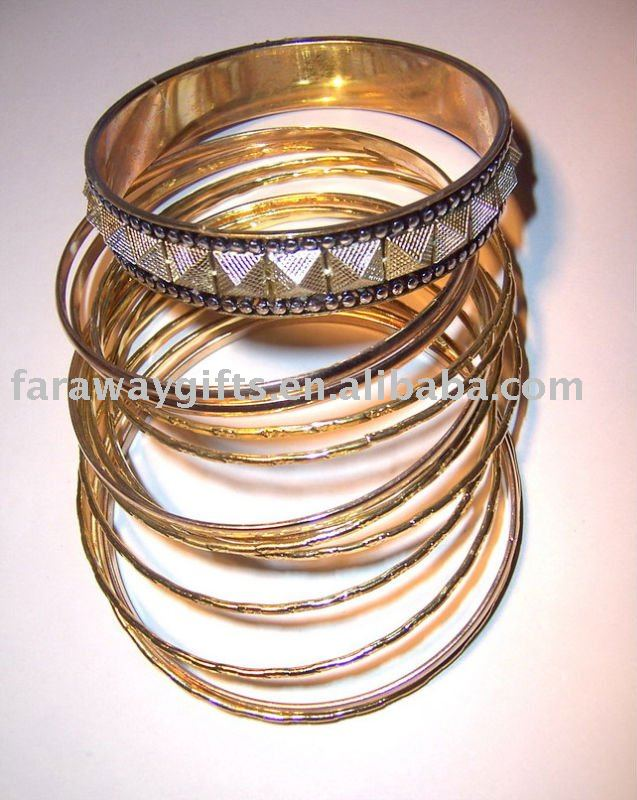 Fashion 18K GP gold alloy multiple rings bangle(China (Mainland))
