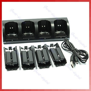 4pcs 2800mAh Rechargeable Battery + Charger Dock Station For Wii Remote Controller Black Free Shipping