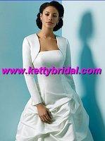 Free shipping  new arrival white satin long sleeve wedding coat /wedding jacket