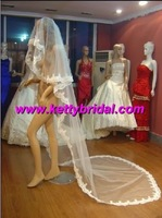 Free shipping new arrival tulle with lace ruffle long wedding veil /new style bridal veil / wedding use veil / good selling veil