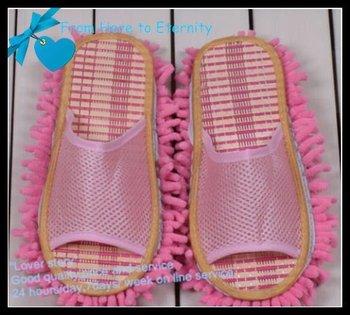 Wholesale -women's summer dust mop slipper ,indoor slipper , floor slipper,Chenille Fibre sole,10pcs/lot