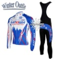 Free Shipping!! WINTER CYCLING JERSEY+BIB PANTS 2011 KATUSHA--SIZE:S-4XL