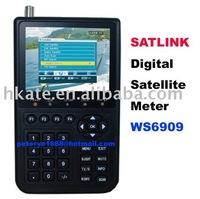 DHL free  Satlink WS6909 DVB-S & DVB-T Combo, DIGITAL SATELLITE FINDER METER & TERRESTRIAL SIGNAL TV receiver FINDER decoder