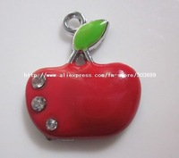 Free Shipping 100pcs zinc alloy enamel red apple charms pendant enamel charms