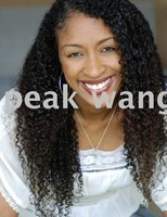 FREE SHIPPING 18 inch #1b kinky curl human hair lace wig