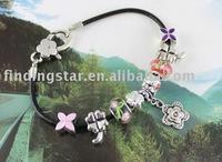 FREE SHIPPING 3PCS European Style Flower Bead Charm Leather Bracelet #20116