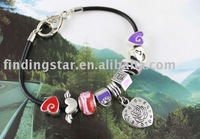 FREE SHIPPING 3PCS European Style Heart Love Charm Leather Bracelet #20117