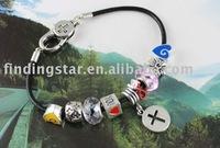 FREE SHIPPING 3PCS European Style Cross Love Charm Leather Bracelet #20119