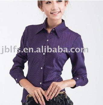 Free shipping for free create your LOGO, 50PCS from online trading, OEM your brand office woman wearing long-sleeved dress shirt