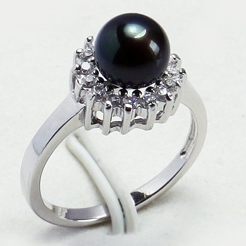 7.5MM Pearl 925 Sterling Silver Ring SZ 6-8(China (Mainland))