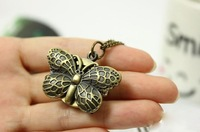Special! Fashion lovely butterfly clamshell long necklace watch quartz watch South Korea pocket restoring ancient ways