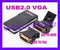 1pc Free Shipping External video card 2.0 USB To VGA/DVI/HDMI Multi-Display Adapter Converter usb graphics card High quality
