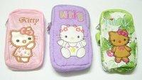Free Shipping 10pcs/lot Hello kitty mp3/mp4 Mobile phone case purse bags wallet PB1*