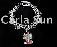 Hot sale!!Fashion Crystal Pendant Bracelet/Hello Kitty Bracelet/10ps/lot KC156(high quality+Unique design+Crystal+free shipping